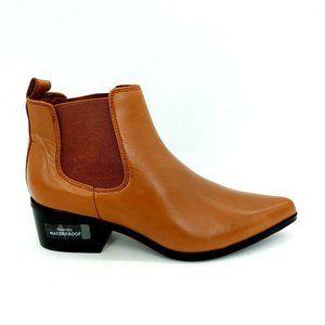 Blondo Womens Pull On Ankle Bootie Block Heel Waterproof Brown Sz 7.5 M NEW